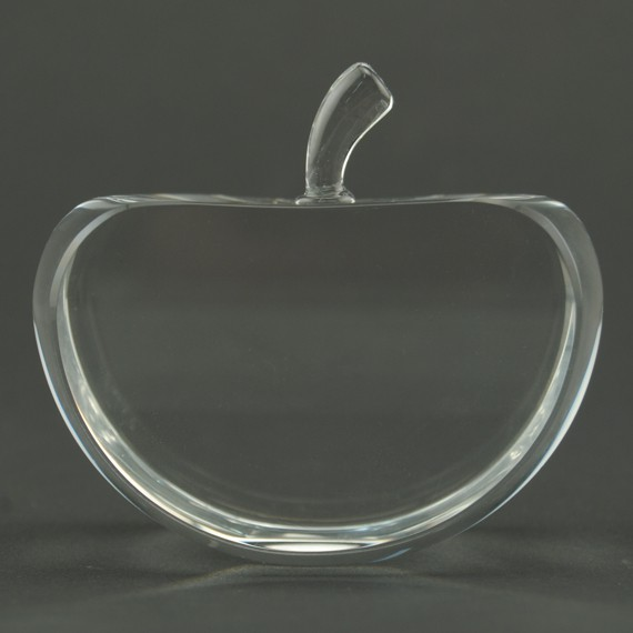 Flat Apple Crystal Paperweight for Teacher Appreciation Gift