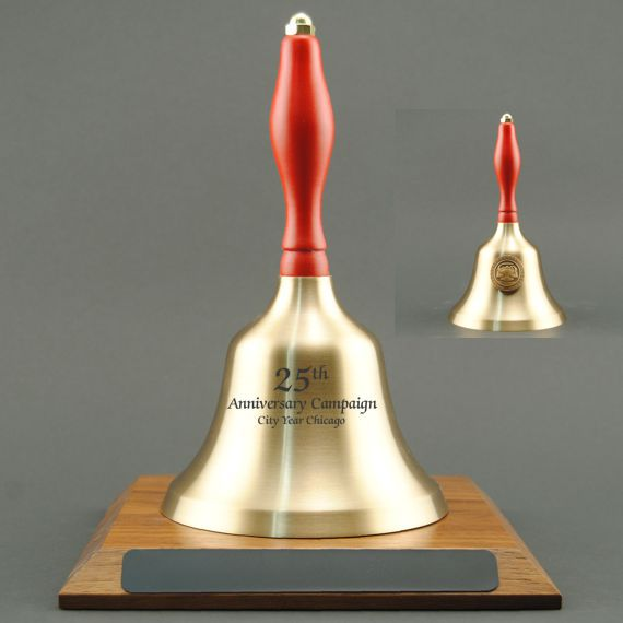 Teacher Appreciation Hand Bell with Red Handle, Base & Medallion - Bell Personalization
