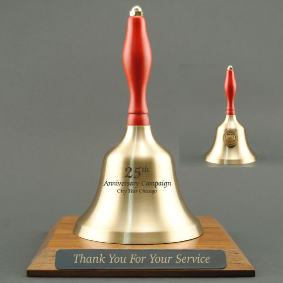 Teacher Recognition Hand Bell with Red Handle, Base & Medallion - Bell & Plate Personalization