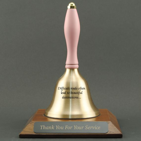 Teacher Appreciation Hand Bell with Pink Handle and Base - All Engraving Included
