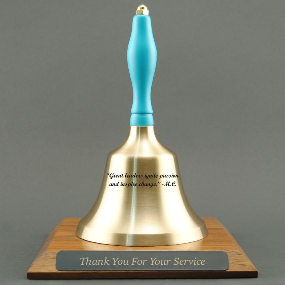 Corporate Appreciation Hand Bell with Light Blue Handle and Base - All Engraving Included
