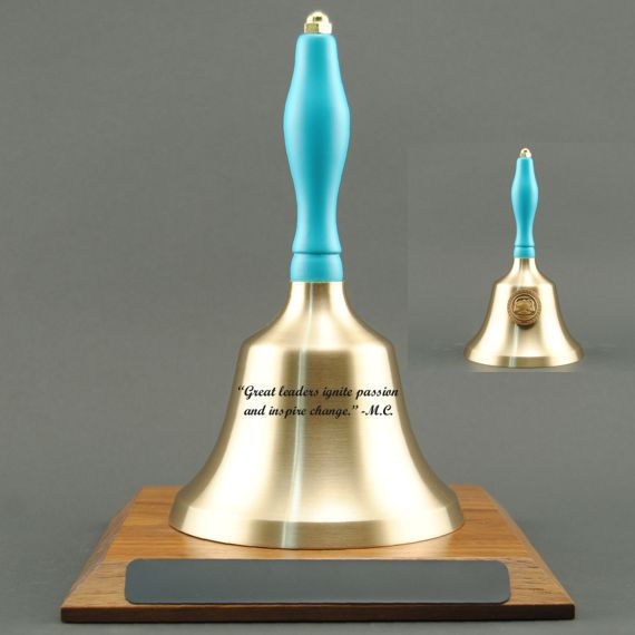 Corporate Recognition Hand Bell with Light Blue Handle, Base & Medallion - Bell Personalization