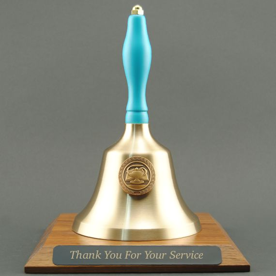 Teacher Recognition Hand Bell with Light Blue Handle, Base & Medallion - Plate Personalization