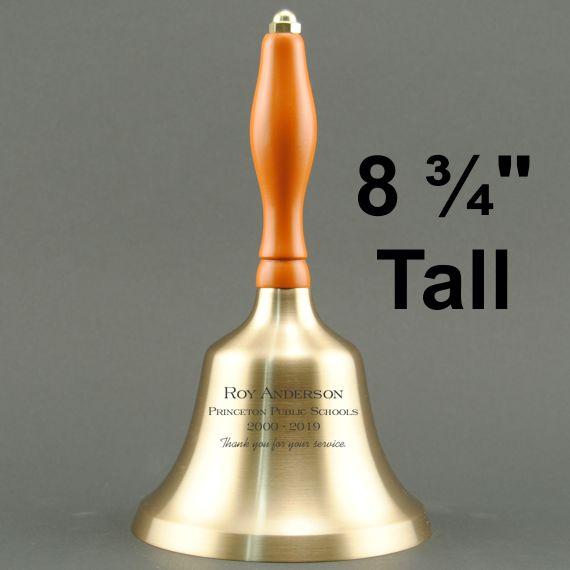 School Employee Hand Bell with Orange Handle - Personalization
