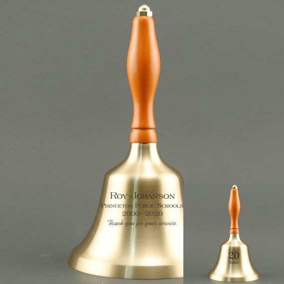 Teacher Appreciation Day Hand Bell with Orange Handle - 2 Sided Personalization