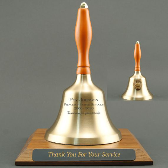 Teacher Recognition Hand Bell with Orange Handle, Base & Medallion - Bell & Plate Personalization