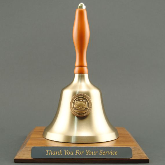 Teacher Recognition Hand Bell with Orange Handle, Base & Medallion - Plate Personalization