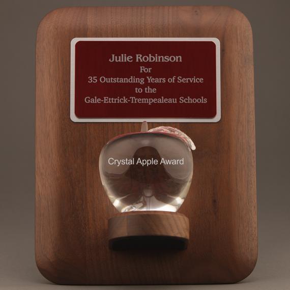 Teacher Retirement Crystal Apple Plaque - Apple & Plate Personalization