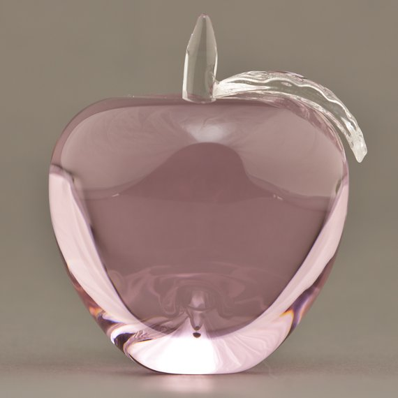 Pink Glass Apple Paperweight for Nurses Appreciation Gift