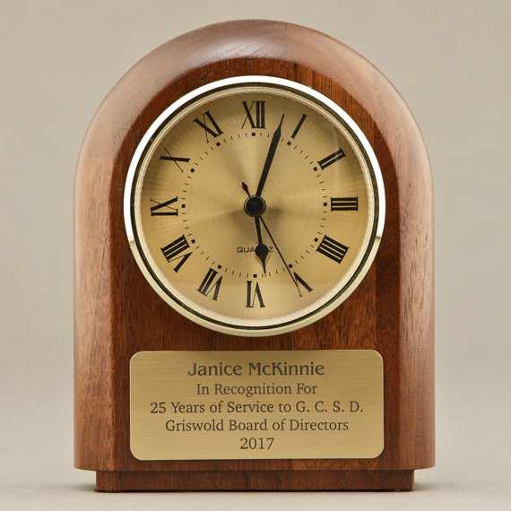 Engraved Walnut Desk Clock for Educator Appreciation Gift