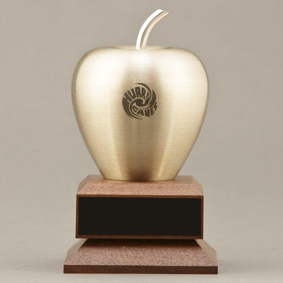 Custom Engraved Golden Apple on Walnut Base as a Gift Idea