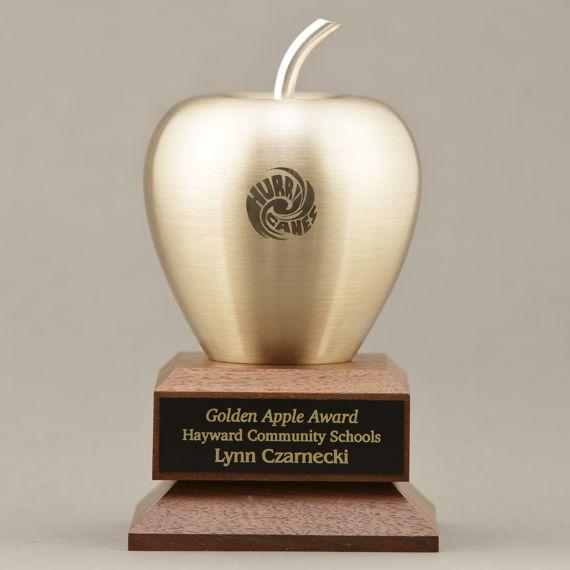Custom Engraved Brass Apple on Engraved Walnut Base as a Retirement Award