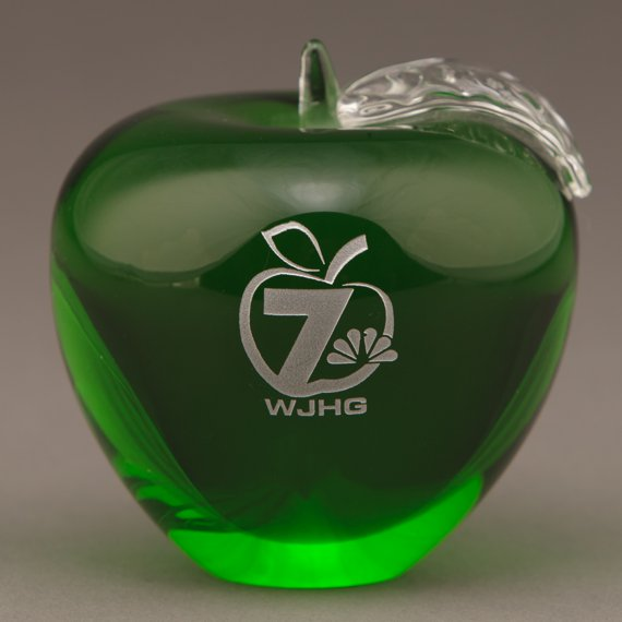 Engraved Green Glass Apple Paperweight for Educator Appreciation Gift