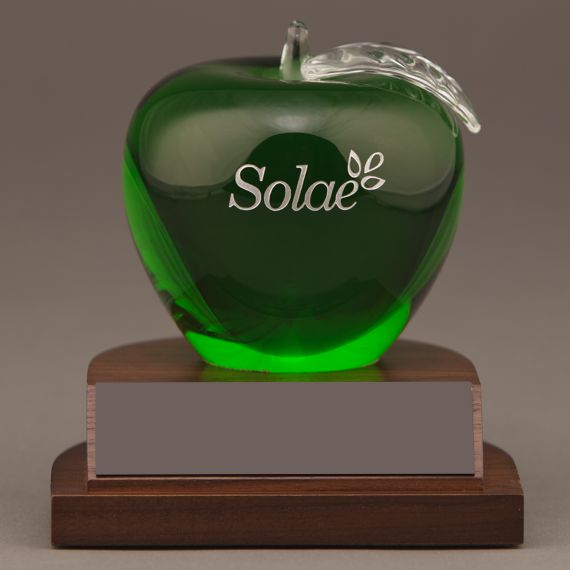 Etched Green Glass Apple on Base as a Preceptor Desk Award