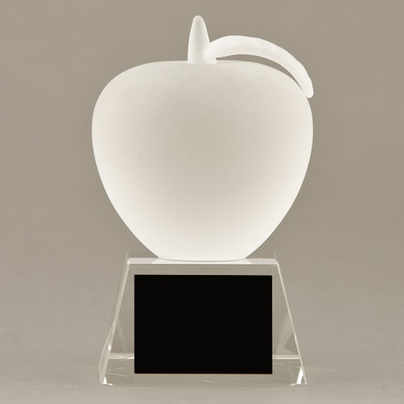 Frosted Glass Apple Trophy for Educator Gift