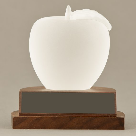 Frosted Glass Apple Paperweight Trophy for Educator Award