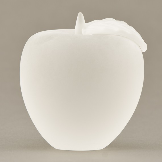 Frosted Glass Apple Paperweight for Educator Wellness Award