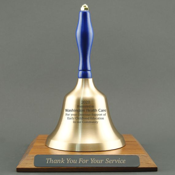 Teacher Appreciation Hand Bell with Blue Handle and Base - All Engraving Included
