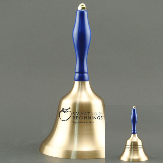 Teacher Appreciation Day Hand Bell with Blue Handle - 2 Sided Personalization