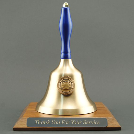 Teacher Appreciation Hand Bell with Blue Handle, Base & Medallion - Plate Personalization