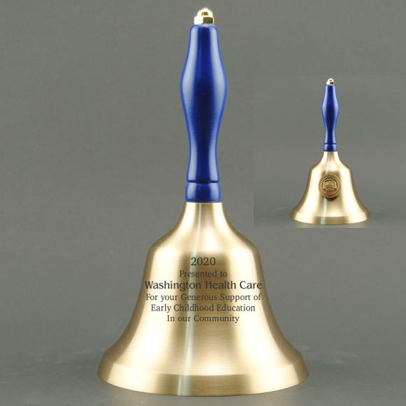 Teacher Appreciation Hand Bell with Blue Handle & Medallion - Bell Personalization
