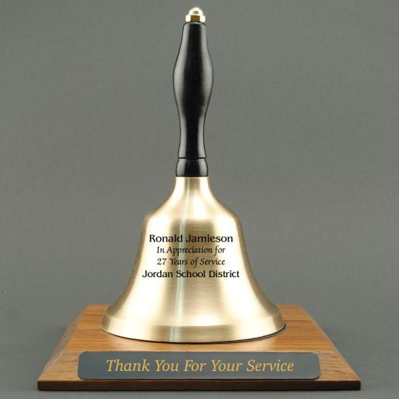 Employee Appreciation Hand Bell with Black Handle and Base - All Engraving Included