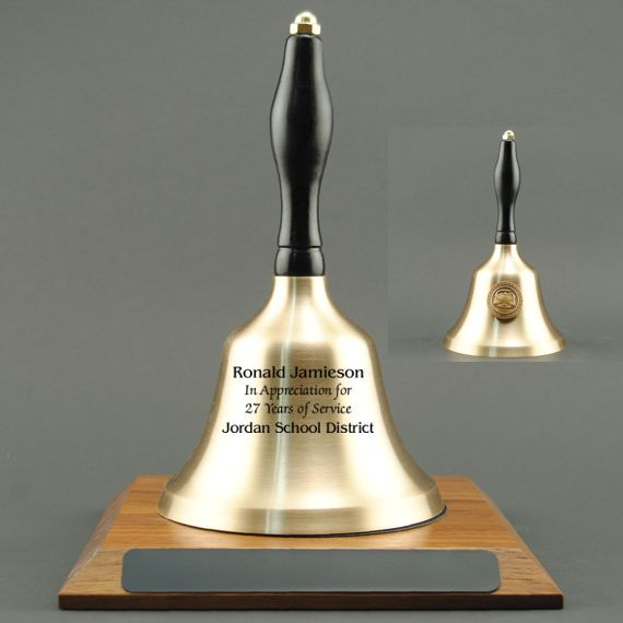Employee Recognition Hand Bell with Black Handle, Base & Medallion - Bell Personalization