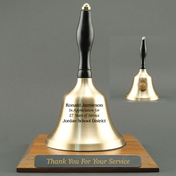Employee Recognition Hand Bell with Black Handle, Base & Medallion - Bell & Plate Personalization