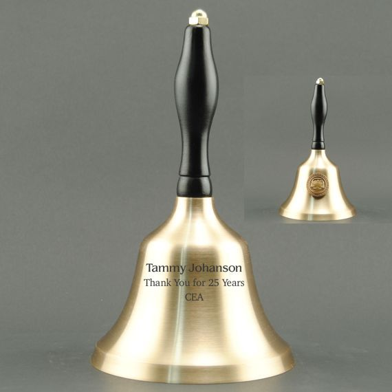 Employee Recognition Hand Bell with Black Handle & Medallion - Bell Personalization