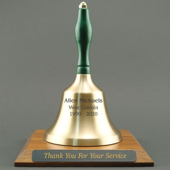 Teacher Appreciation Hand Bell with Green Handle and Base - All Engraving Included