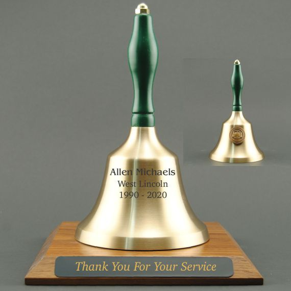 Teacher Recognition Hand Bell with Green Handle, Base & Medallion - Bell & Plate Personalization