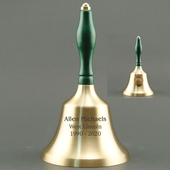 Education Recognition Hand Bell with Green Handle & Medallion - Bell Personalization