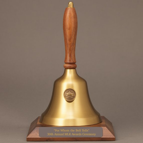Teacher Retirement Hand Bell with Walnut Handle, Base & Medallion - Plate Personalization
