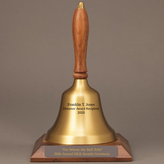 Service Award Appreciation Hand Bell with Walnut Handle and Base - All Engraving Included