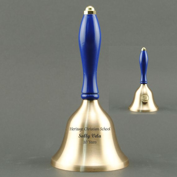 Teacher Recognition Hand Bell with Blue Handle & Medallion - Bell Personalization