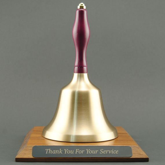 Teacher Retirement Hand Bell with Purple Handle and Base - Engraved Plate