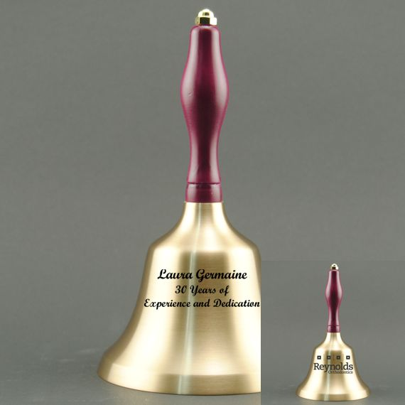 Teacher Retirement Hand Bell with Purple Handle - 2 Sided Personalization