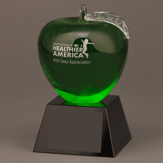 Etched Green Crystal Apple - Non-Engraved for a Retirement Gift