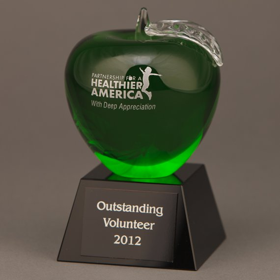 Etched Green Crystal Apple for a Retirement Gift