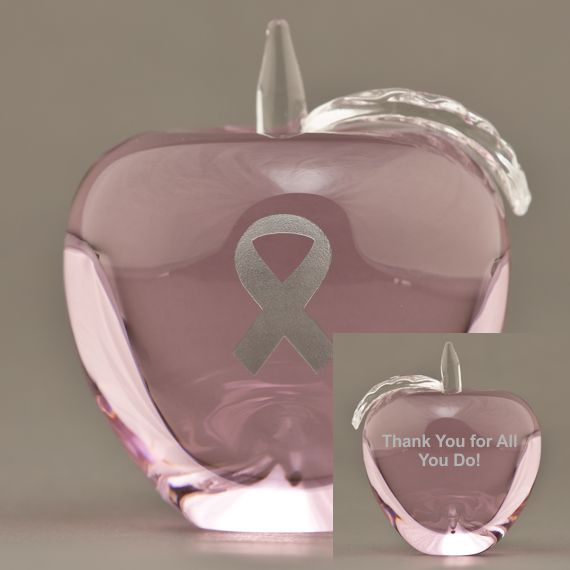 Engraved Pink Glass Apple Paperweight for Nurses Appreciation Gift