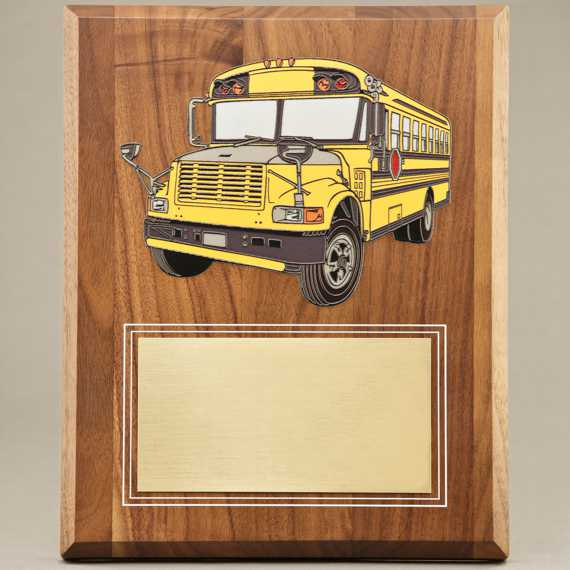 UV Printed School Bus Driver Appreciation Plaque - No Personalization Included