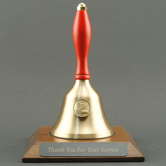 Teacher Recognition Hand Bell with Red Handle, Base & Medallion - Plate Personalization