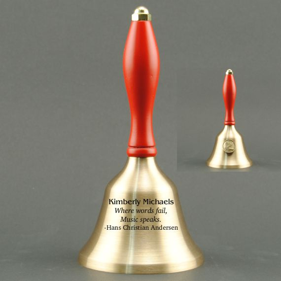 Teacher Recognition Hand Bell with Red Handle & Medallion - Bell Personalization