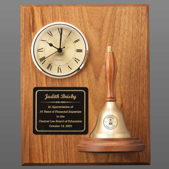 Teacher Appreciation Week Clock Handbell Plaque with Personalization on Bell & Plate