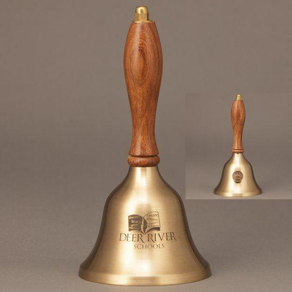 Teacher Retirement Appreciation Hand Bell with Walnut Handle & Medallion - Bell Personalization