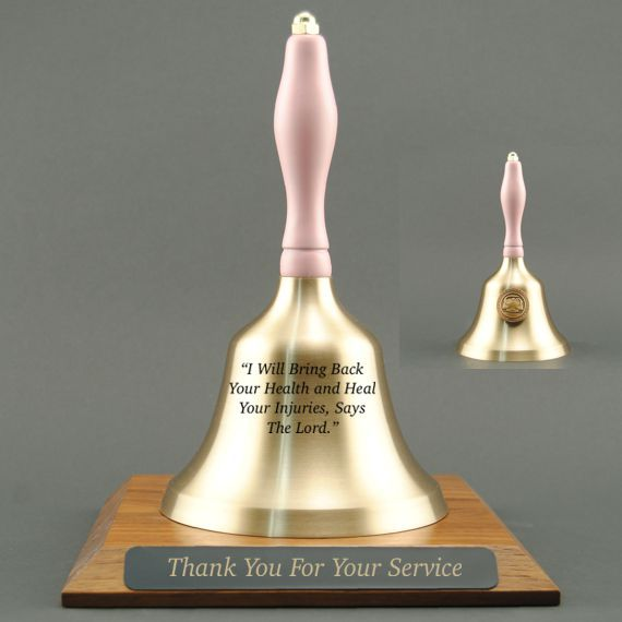 Teacher Recognition Hand Bell with Pink Handle, Base & Medallion - Bell & Plate Personalization