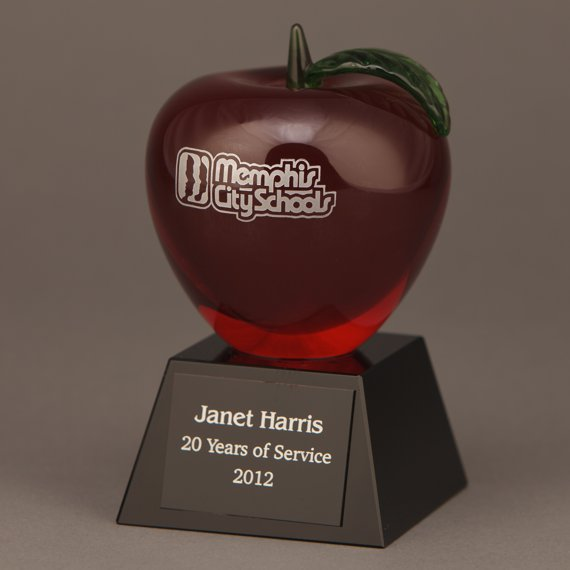 Etched Red Crystal Apple Trophy for an Appreciation Gift Idea