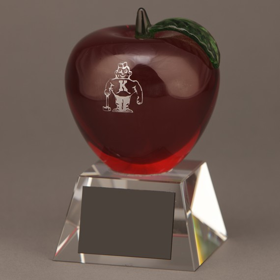 Red Crystal Apple Trophy without Engraving an Excellent Teacher Recognition Gift Idea