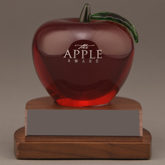 Etched Red Crystal Apple Desk Award Non-Engraved for a Retirement Gift