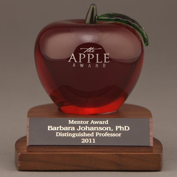 Etched Red Crystal Apple Desk Award Engraved for a Retirement Gift